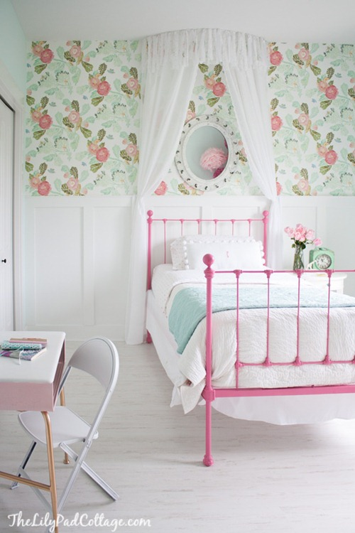 pink green floral wallpaper girls room