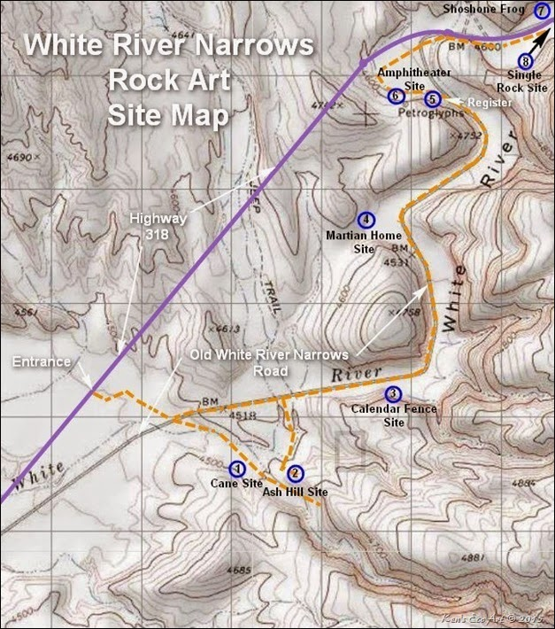 White River Narrows Petroglyphs Map