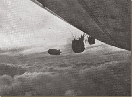 Hindenburg and Graf Zeppelin meet over South Atlantic - Dec. 1936