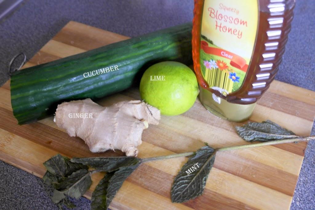 用黄瓜酸橙姜薄荷和蜂蜜排毒水
