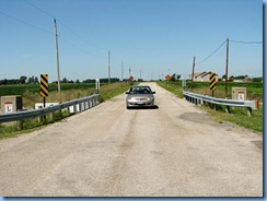 3985 Ohio - Lincoln Highway - dead end - 1930 concrete bridge and 2 concrete pillars with ceramic Lincoln Highway plaque