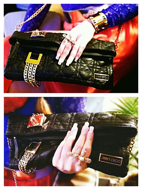 Jimmy Choo Clutch in black with gold chains