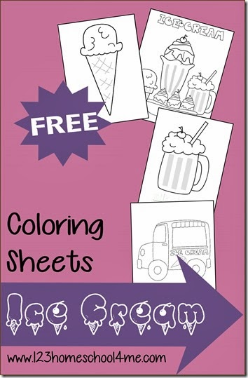 FREE Ice Cream Coloring Sheets For Summer
