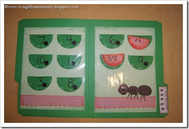 Watermelon Picnic  Counting File Folder Game