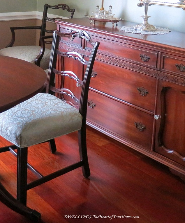 Antique cherry furniture in the dining room.