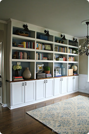 library bookcases done boom from thrifty decor chick rh thriftydecorchick com diy library shelves for full wall log home diy home library shelves