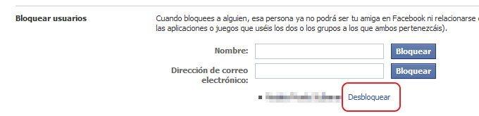 desbloquear personas en Facebook