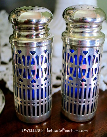 English cobalt blue and silver salt and pepper
