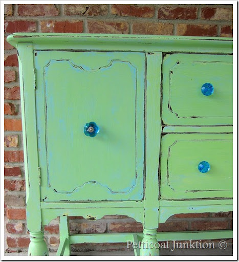 Painted Sideboard Buffet Green Turquoise Before After