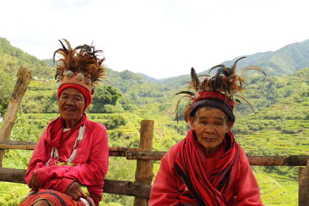 Elderly Ifugao Tribal Women at Banaue rice terraces view point, Philippines