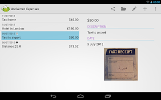 Screenshot of ExpenseClam expenses & mileage