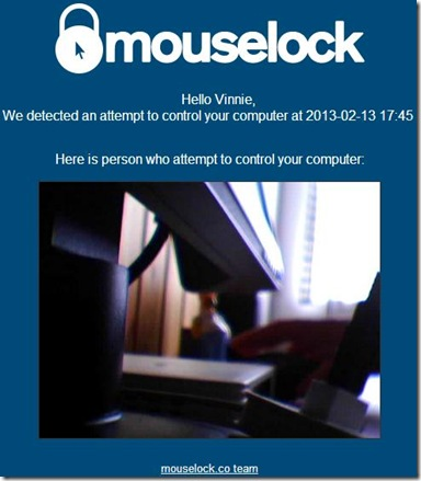 MouseLock notifica email con immagine scattata dalla webcam