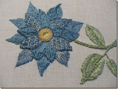 Long & Short Stitch - Sampler - Blue Flower with silver highlights