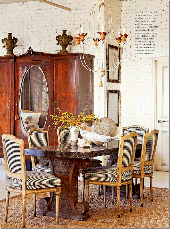 Black And White Stripes Give A Contemporary Edge To Antique Louis XVI Chairs