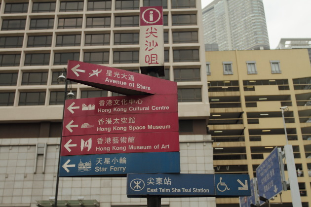 Signboard on the harbour side of Hong Kong