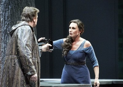 Christopher Ventris (left) as Siegmund and Waltraud Meier (right) as Sieglinde in DIE WALKÜRE at the Wiener Staatsoper, November 2011 [Photo from the Wiener Staatsoper; photographer uncredited]