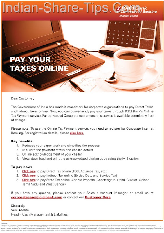 ICICI Bank Online Tax Payment Service