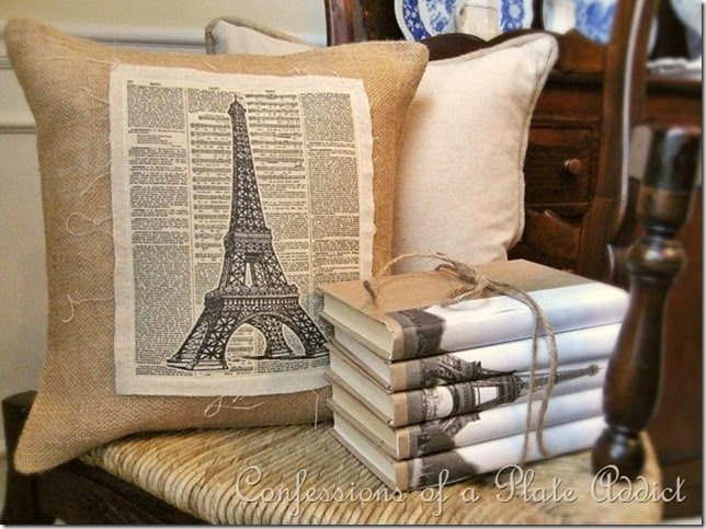CONFESSIONS OF A PLATE ADDICT Linen and Burlap Vintage Eiffel Tower Pillow