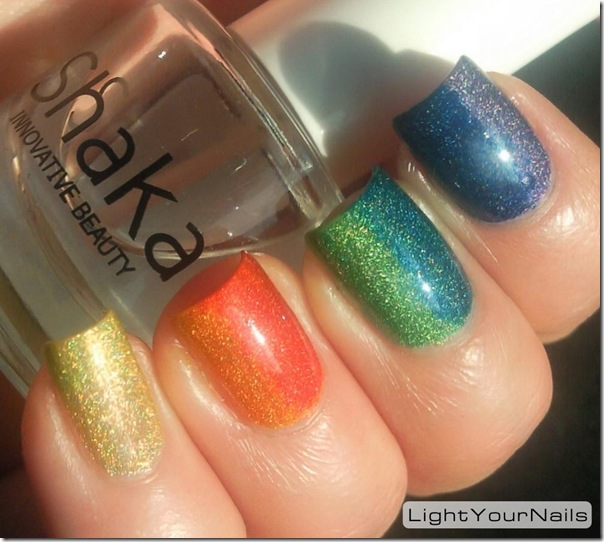 Rainbow holographic gradient, Ludurana Superior, Catherine Arley 800, Catherine Arley 806, Sky Kisses 04 Jede, Astra holo 703, OPI DS Fantasy, Astra holo 708
