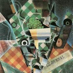 Juan Gris (1915): Naturaleza muerta sobre un mantel de cuadros. Colección privada.
