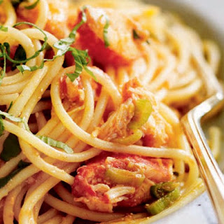 Lobster Spaghetti With Tomato Ginger And Basil.