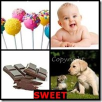 SWEET- 4 Pics 1 Word Answers 3 Letters