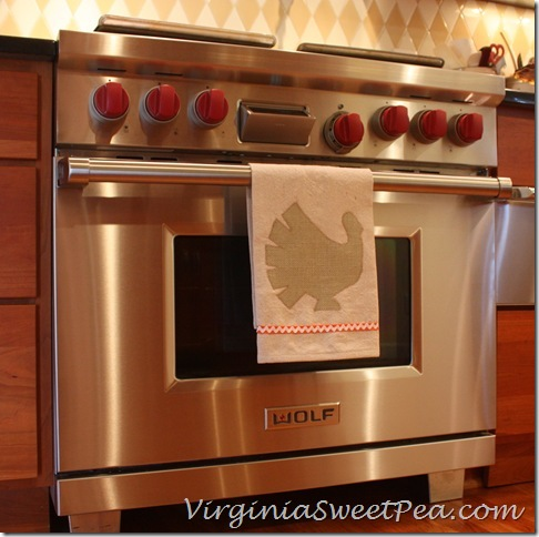 Drop Cloth and Burlap Tea Towel on Stove