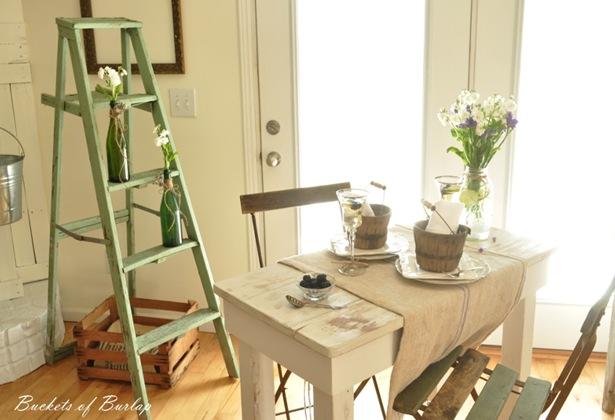 vintage green ladder