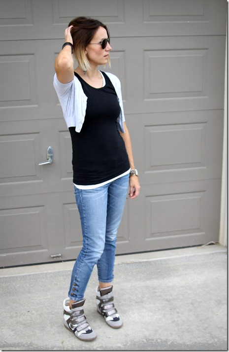 cropped cardigan, black tee, cropped jeans and wedge sneakers