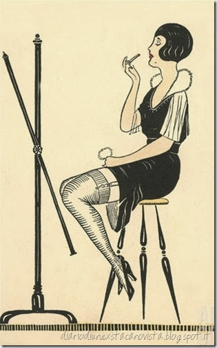 Flapper Putting on Lipstick
