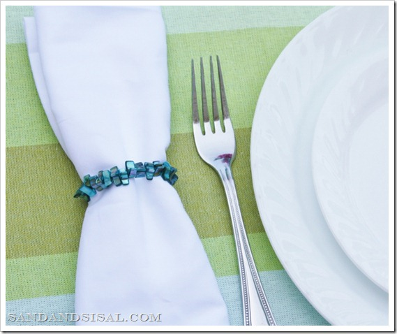 blue coral napkin rings