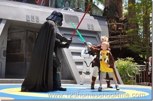 Jedi Academy Training is lots of fun for kids to fight Darth Vadar at Hollywood Studios