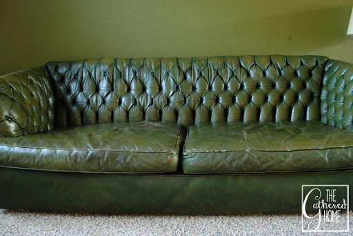 Found Vintage Tufted Green Leather Sofa The Gathered Home