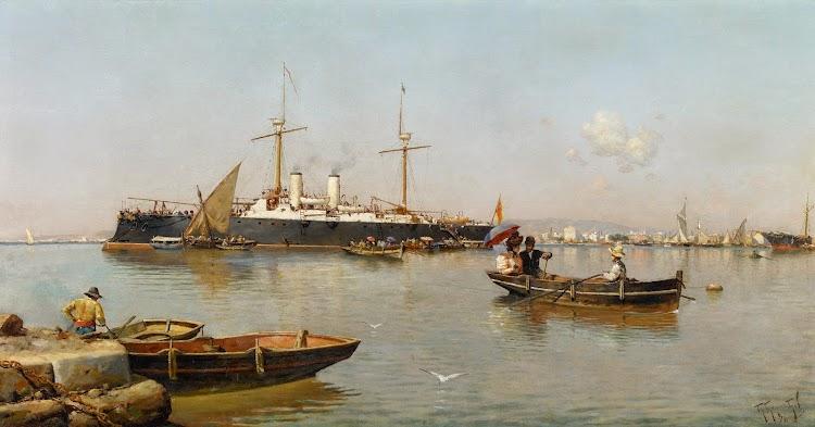 Museo Carmen Thyssen. Puerto de Malaga. 1896. Oleo de Guillermo Gomez Gil.jpg
