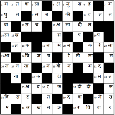 Hindi-Cryptic-Crossword-Solution