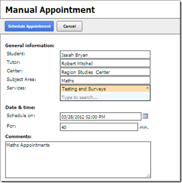 Manual appointment