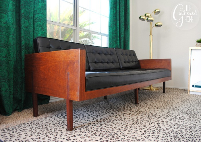 found vintage midcentury wood case sofa2