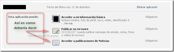 Aplicaciones, permisos de publicación en Facebook