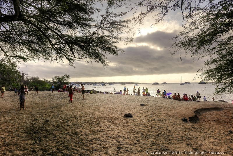 people beach galapagos