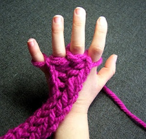 Finger Knitting with Kids