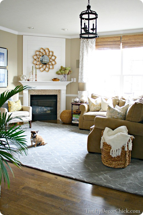 Light blue rug family room