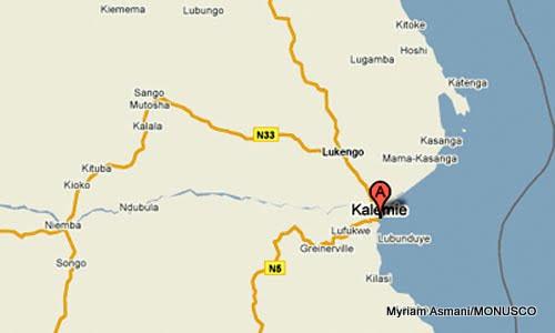 La ville de Kalemie marquée en rouge