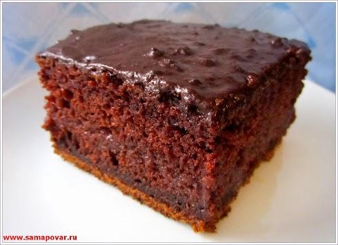 Шоколадный бисквитный пирог. www.samapovar.ru