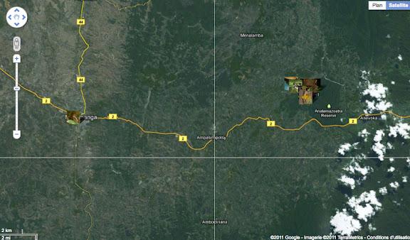 Situation du Parc de Mantadia-Andasibé (Périnet, 100 km à l'est d'Antananarivo) et de la Réserve d'Analamazoatra