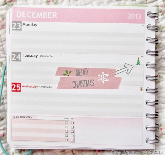 personal planner christmas reminder, diary