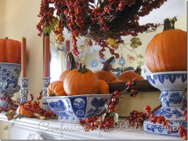 CONFESSIONS OF A PLATE ADDICT Blue, White and Bittersweet Fall Mantel
