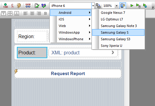 Drop down menu for preview device selection in MobileTogether