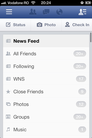 Facebook iOS v6 News Feed filters
