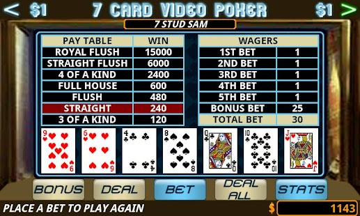 Seven Card Video Poker- screenshot thumbnail