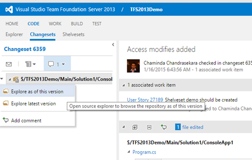 Chaminda's DevOps Journey with MSFT: TFS 2013 4 Version